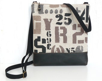 Crossbody Bag, Zipper Hip Bag, Fabric Cross Body Purse - Letterpress in Beige, Taupe and Black