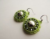 Native American Beaded Green Earrings