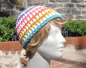 Multicolored Striped Crocheted Beanie, Lularoe Hat, Striped Hat, Woman's Hat