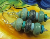 Navy and duck egg ceramic and silver dangle earrings