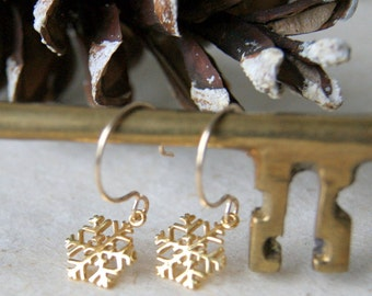 Snowflake Earrings - Gold Snowflake Earrings - Gold Filled Earwires - Winter Fashion