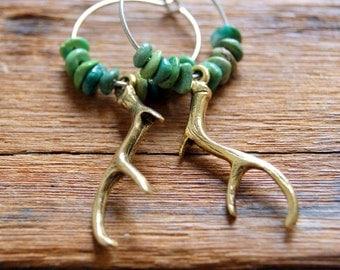 Gold Antler Earrings - Antler Earrings - Deer Antler Earrings - Natural Primavera Stone Earrings - Woodland Fashion
