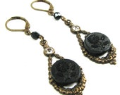 Neo Victorian Earrings with Rhinestones and Circa 1860s Victorian Flower Picture Buttons