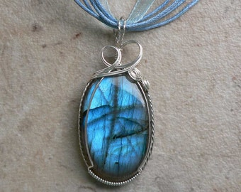 Turquoise Labradorite in Sterling Silver Pendant - Cresting Waves