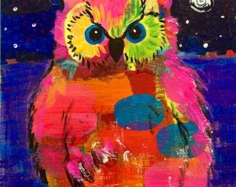 Night Owl Original Painting by Caren Goodrich