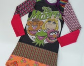 Size 8 (52 3/4 inch height) upcycled girls dress with print muppet show