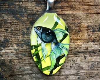 RW2 Fish Eye Spoon 3D Necklace Pendant Surreal Art by Robert Walker