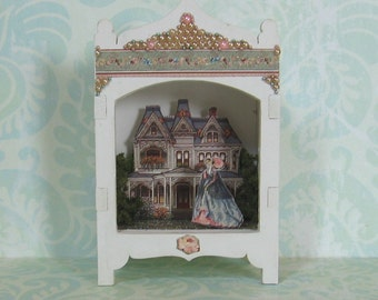Miniature Toy Theater Vignette in Pale Mauve with Victorian House