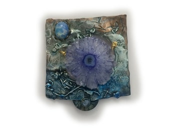Blue stalactite and harlequin Opaline  Pin   in Sterling Silver and Married Metals   by Cathleen McLain McLainJewelry