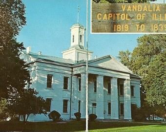 Vintage 1950s Postcard Vandalia Illinois State House Capitol Building Architecture Government Photochrome Era Postally Unused