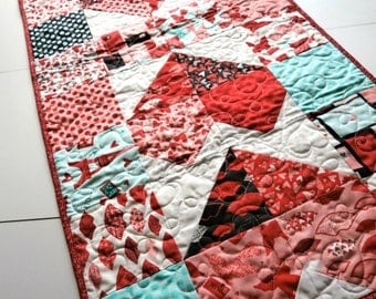 Red and Aqua Heart Quilted Table Runner - Charming Hearts in Kiss Kiss fabric Paris themed table runner or wall hanging patchwork fabric