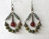 Moss Earrings. Sterling Silver earrings with Carnelian, Serpentine and Rainforest Jasper.