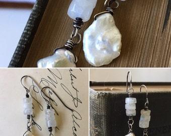 Rainbow Moonstone and white Keishi Pearl Earrings. Heirloom look sterling silver earrings by Anne More Jewelry