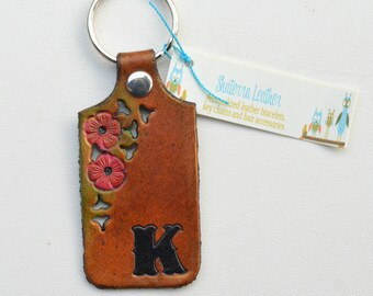 Leather Key Ring with Initial