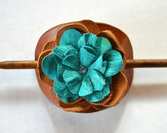 Pony Tail Holder Hair Stick, Retro  Leather with 3D Flower