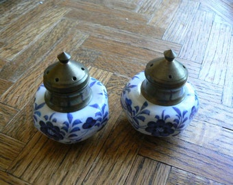 Vintage Delft Style ceramic and brass salt & pepper shakers  Very Unique