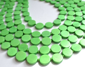 The Charlotte- Bright Green Wood Statement Necklace