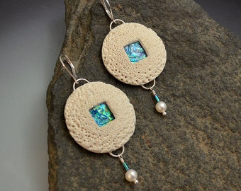 Sterling silver dangle drop earrings faux polymer clay white coral and faux iridescent opal pools real pearls and sterling lever earwires