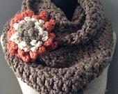 Brown Infinity Scarf Chunky Cowl Chocolate Tweed Neck Warmer Endless Circle Loop with Statement Flower Brooch