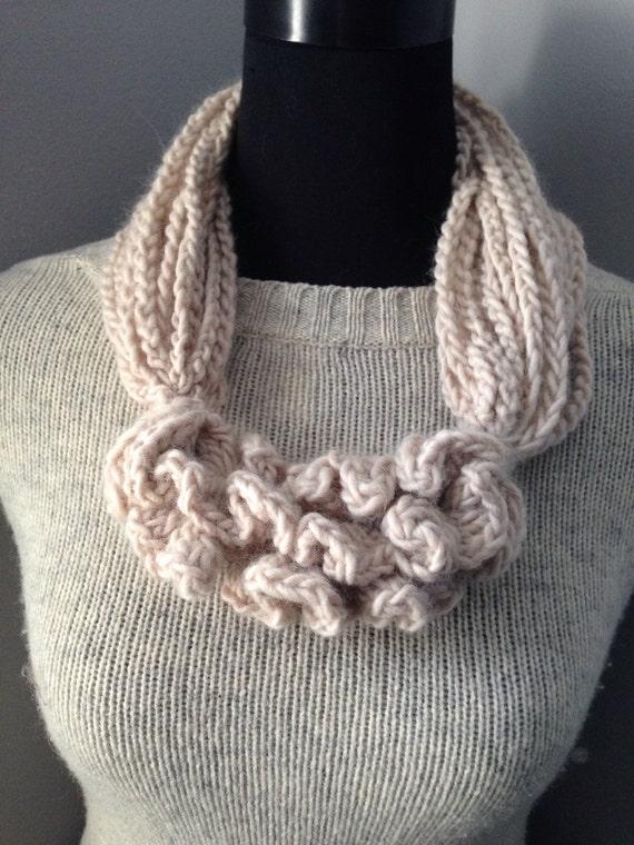 Cowl Cream Ruffle Chunky Fiber Statement Necklace Wool Ivory Neck Warmer Crochet Neck Warmer Free Shipping