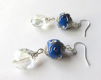 Long Blue Glass Earrings - Crystal and Rhinestone Earrings - Sterling Silver Blue Earrings - Boho Jewelry -  Blue Fashion Earrings
