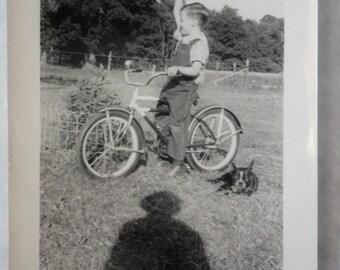 Triumphant Bike Loving Boy Raises Fist, French Bull Dog and Photographers Shadow Trifecta