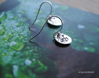 Little Lotus sterling silver and rose quartz earrings by srgoddess