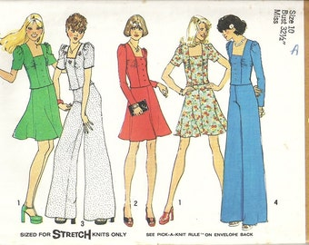 Simplicity 6662 Misses Mod Top, Skirt, Pants 70s Vintage Sewing Pattern Size 10 Bust 32 1/2 Two Piece Dress