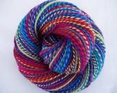 Handspun merino yarn, bulky yarn, chunky yarn, dolls hair, pink, purple, teal, green, handspun yarn, FIND THE PUMPKIN, 4.2oz, 151yds