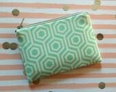 Mint and White Geometric Print - Small zipper pouch - change purse - wallet