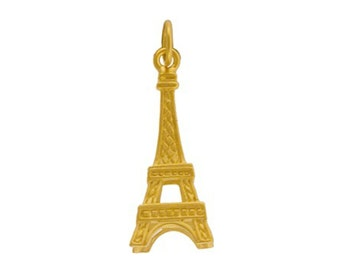 24k Gold vermeil Eiffel Tower charm or pendant. 3d Paris or French Themed Jewelry. Gold Plated.