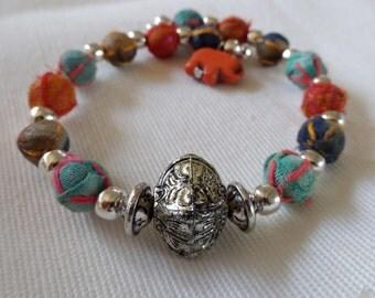 Traditional Indian Sari Bead Bracelet