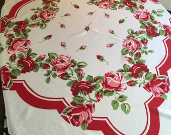 Vintage Tablecloth - Scalloped Aqua Red Border w/ Pink and Red Roses Central Rose Bud Printed Table Linen - Vivid Retro Colors