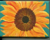 2- 5 x 7 sunflower acrylic paintings