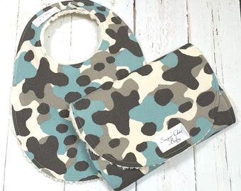 Bib & Burp Cloth Set for Baby Boy -  Super Absorbent Chenille - Triple Layer Design -  Set of 2  - Blue, Gray, Cream - BLUE GRAY CAMO