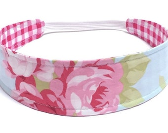 Girl's Floral Fabric Headband, Child's Headband, Children's Reversible Headband - Pink & Blue Floral - PINK FLORAL GINGHAM
