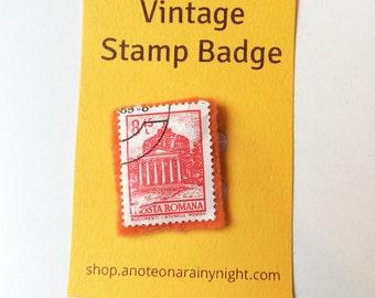 Vintage stamp badge- Romania