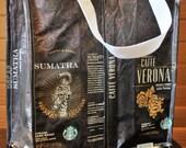 Recycled Tote Bag Starbucks Coffee Bean Bag - Dark Roast #104