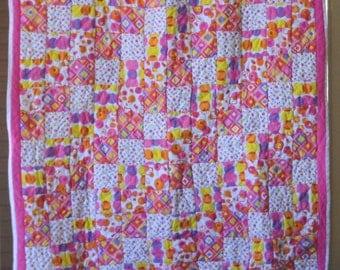 Super Fun Geometric Print Baby / Child Quilt pink, purple, yellow, and orange #208