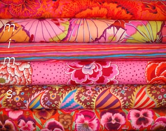 Hot REDs, Rust, PINK, Maroon, Orange /3 yards of  Kaffe Fassett Fabric / Phillip Jacobs fabric / Cotton Quilting Apparrel Fabric