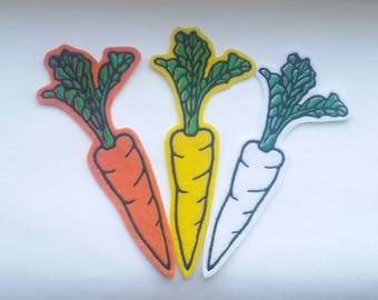 Set of 3 carrot iron on patches, felt food, yellow carrot, white carrot, orange carrot, patches for jackets, vegetable patches