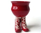 Ceramic Sex Pot with High Heel and Heart Leggings - Bright Red