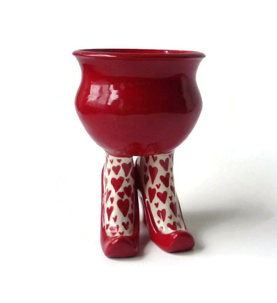 Ceramic Sex Pot With High Heel And Heart Leggings Bright Red