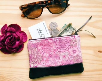 Floral Leather Pouch, Coin Purse, Pink Coin Wallet, Small Coin Purse, Change Purse, Women's Leather Wallet