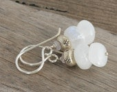 MOONSTONE and Light Pink SAPPHIRES Sterling Hill Tribe Silver Dangle Artisan Earrings // Natural Gems // luluglitterbug