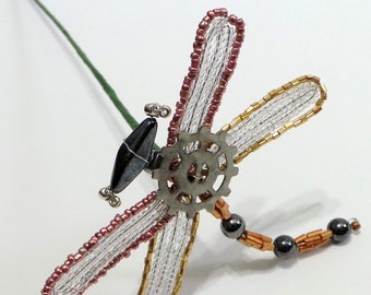 French Beaded Steampunk Style Dragonfly Plant Stick