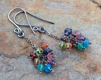 Multi gemstone earrings, RAINBOW cluster of multi gems on sterling silver chains, oxidized sterling silver
