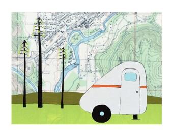 Leavenworth Map Print // Camper Art // Travel Art // Scamp Art // Washington Art // Modern Decor // Cabin Art // Rachel Austin Art 11x14