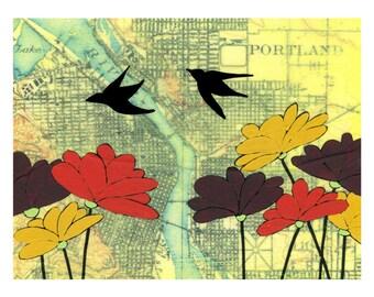 Portland Flowers Map Print // Portland Art // Oregon Art // Travel Decor // Modern Kid Art // Bird Art // Rachel Austin Art 11x14
