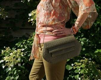 Vintage Leather Bag Purse Box Bag Shoulder Bag Women Accessories Bags and Purses 1960s Retro Handbag Olive Army Green Hippie Bohemian Boho